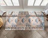 Well Woven Lotus Boron Machine Washable Vintage Gabbeh Geometric Pattern Blush Pink Flat-Weave Distressed 2' x 3'11' Area Rug