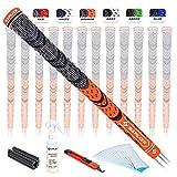 SAPLIZE Golf Grips 13 Piece with Complete Regripping Kit, Standard Size, Cord Rubber, Hybrid Golf Club Grips, Fluorescent Orange