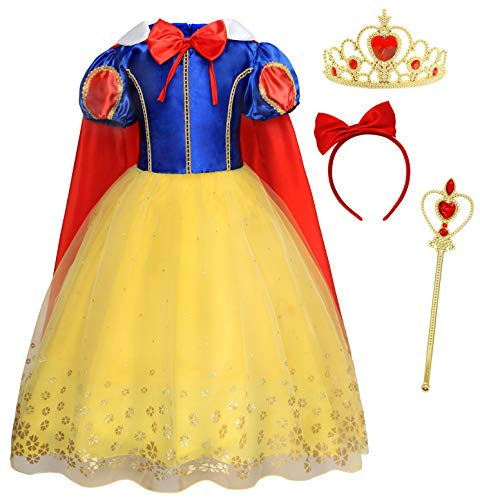 AmzBarley Girls Dress Kids Dressing up Costumes Birthday Evening Halloween Fancy Party Dresses Children Outfits, Yelllow 02+005, 7-8 Years