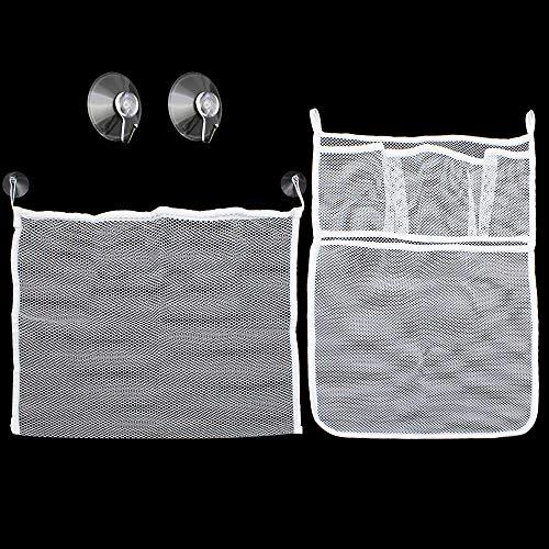 LumenTY 2 Stück Badespielzeug Aufbewahrungsnetz Badespielzeug Organizer Badewanne Spielzeugnetz Badewannen Spielzeug Aufbewahrungsnetz Netz für badewannenspielzeug mit 4 Vakuum Saugnapfhaken