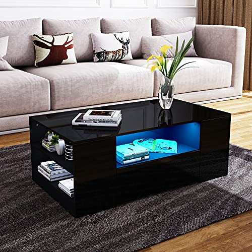 Senvoziii LED Moderne Table de Salon et élégante avec 2 Tiroirs de Stockage 2 Cas Ouverts Table Basse Brillant Blanche, Table de Canapé pour Le Salon 95 x 55 x 37 cm (Noir)