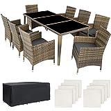 TecTake Salon de jardin en aluminium résine tressée poly rotin table | 8...