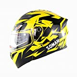 MotorcycleHelmet,Adult Modular Full Face Helmet Flip up Dual Visor Sun Shield, Personality Painting Dirt Bike Four Seasons Motorcycle Racing Helmet,Yellow,XL