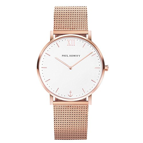 PAUL HEWITT Armbanduhr Damen Sailor Line White Sand - Damen Uhr (Rosegold), Damenuhr Edelstahlarmband in Rosegold, weißes Ziffernblatt