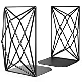 MaxGear [30% Larger] Bookends, 8 inch Heavy Duty Decorative Book Ends for Shelves, Unique Geometric Design, Metal Bookend, Book End, Book Support, Book Stopper for Home & Kitchen, Non-Skid, Black