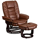 Flash Furniture Contemporary Multi-Position Recliner with Horizontal Stitching and Ottoman with Swivel Mahogany Wood Base in Brown Vintage Leather