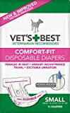 Vet's Best Diapers for Female Dogs, Comfort-Fit Disposable, Small, 12 Count, 6...