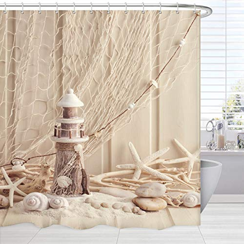 BROSHAN Nautical Decor Shower Curtain Extra Long, Coastal Sea...
