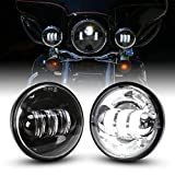 4.5 Inch Led Fog Light for Motorcycles Auxiliary Light Bulb Motorcycle Projector Driving Lamp, 1 Pair(Black)