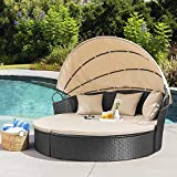 Homall Patio Furniture Outdoor Daybed with Retractable Canopy Rattan Wicker Furniture Sectional Seating with Washable Cushions for Patio Backyard Porch Pool Round Daybed Separated Seating (Beige)
