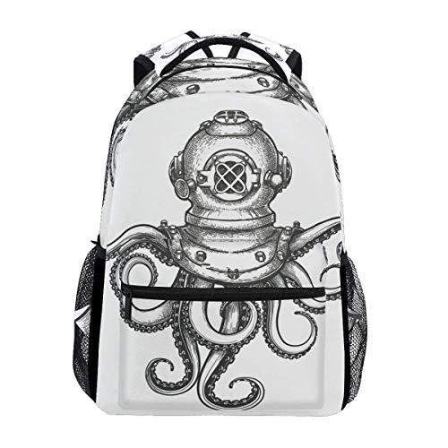 """Stilvoller Octopus-Tauchrucksack - Leichte Reisetaschen für Schulhochschulen, 16\""""x 11,5\"""" x 8\"""""""