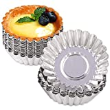 24 Pcs Egg Tart Molds, Non-Stick and Reusable Tart Pan for Baking, Aluminum Mini Mould for Tarts, Pies, Cupcakes, Mini Cakes, Pudding, Jello and Chocolate