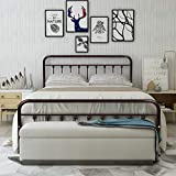 HOMERECOMMEND Metal Bed Frame Queen Size Steel Slats Platform Base Box Spring Replacement Foundation with Headboards & Heavy Duty Steel Slats for Living Room Guest Room