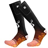 SNOW DEER 2019 Upgraded Rechargeable Electric Heated Socks,7.4V 2200mAh Battery Powered Cold Weather Heat Socks for Men Women,Outdoor Riding Camping Hiking Motorcycle Skiing Warm Winter Socks(Large)