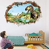 3D Stickers Muraux Dinosaure,Dinosaure 3D Sticker Mural Enfants,Chambres Garçon Chambre Décoration,Stickers Muraux Affiche Papier Peint,Muraux Pour Enfants,3D Autocollant Mural Dinosaure