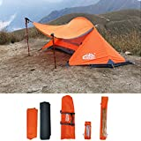 camppal Professional 1 Person Extreme Space Saving Single Bracket Tent, 4 Season Mountain Tent, Lightweight Backpacking Tents, Waterproof Durable Hiking Beach Hunting Camping Tent (MT051) (Orange)