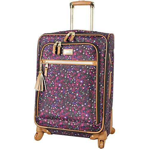 Steve Madden Designer Luggage Collection - Expandable 28 Inch Softside Bag for Men & Women - Durable Lightweight Checked Suitcase with 4-Rolling Spinner Wheels (Dark Purple)