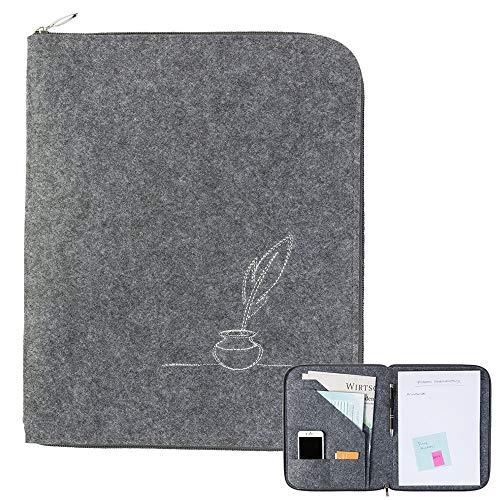 Schreibmappe A4 mit Federkiel mit rundum Reißverschluss aus Filz grau (Farbe wählbar), Aktenmappe Dokumententasche Ordnungsmappe Tagungsmappe