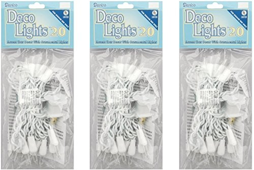 Darice LT20-1 Clear 20-Bulb Light Set with White Cord for Indoor Use Only (3 Pack)