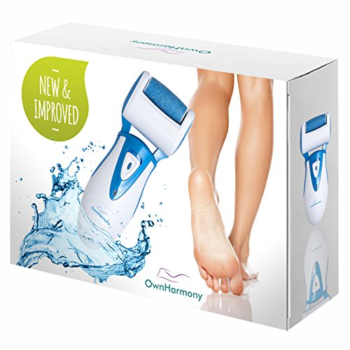 Electric Callus Remover: Rechargeable Electronic Foot File CR900 by Own Harmony (Powerful Motor) Best Pedicure Tools w 3 Rollers Professional Pedi Feet Care Sander for Cracked Heels and Hard Skin