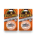Gorilla Tough & Clear Double Sided Mounting Tape, 1' x 60', Clear, (Pack of 2)