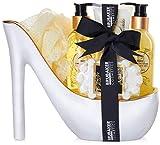 BRUBAKER Cosmetics - Coffret de bain & beauté de luxe - Vanille - 6 Pièces - Escarpin décoratif - Blanc/Doré - Idée cadeau Femme