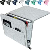 Lib Bedside Caddy, Original Design | Large Size 9.5' x 13.5' | Laptop Holder | 100% Handmade | College Room, Kids Bunk Bed, Hospital Bed | Night Hanging Storage Organizer (Light gray)