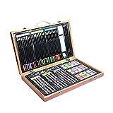 Artista Dibujo Juegos de Arte 80 Piezas pintura del artista Box Set con los niños portátil de almacenamiento de la base de madera, lápices de colores diversos accesorios de conjunto del arte de regalo