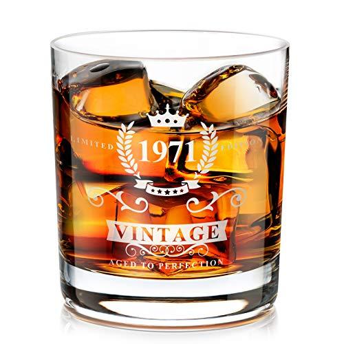 1971 50th Regalo para Hombres, Vaso de Whisky Tradicional He