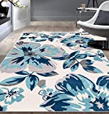 Modern Floral Area Rugs 5' x 7' Turquoise