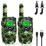 FAYOGOO Kids Walkie Talkies, 22-Channel FRS/GMRS Radio, 4-Mile Range Two Way Radios with Flashlight and LCD Screen (Camo Green)