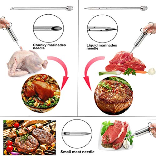Product Image 6: 304 Stainless Steel Meat Injector Syringe, Turkey Basting Flavor Food Seasoning Injector Kit, 3 Marinade Injector Needles and 2 Cleaning Brushes for Grill BBQ Meat