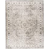 ReaLife Machine Washable Rug - Stain Resistant, Non-Shed - Eco-Friendly, Non-Slip, Family & Pet Friendly - Made from Premium Recycled Fibers - Vintage Bohemian Medallion - Beige Ivory, 3' x 5'