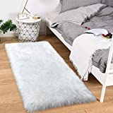 Noahas Faux Sheepskin Area Rugs Silky Long Wool Carpet for Living Room Bedroom, Children Play Dormitory Home Decor Rug, 2ft x 4ft White Mixed Silver Sequins