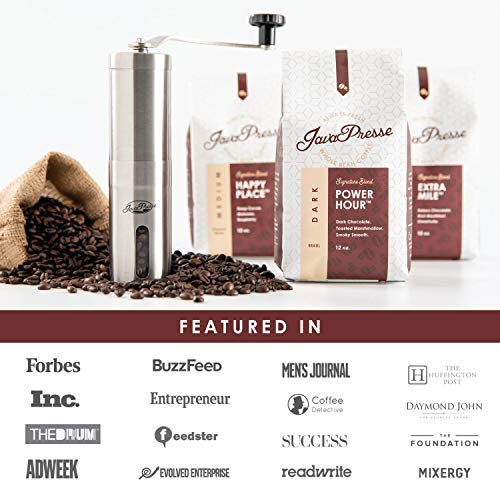 JavaPresse Manual Coffee Grinder with Adjustable Setting - Conical Burr Mill & Brushed Stainless Steel Whole Bean Burr Coffee Grinder for Aeropress, Drip Coffee, Espresso, French Press, Turkish Brew 8