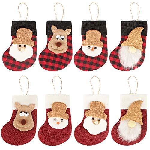 Fangoo 8 Piezas Mini Medias de Navidad Adornos para Medias de árbol de Navidad Adornos de Navidad para Colgar Medias Adornos para árbol de Navidad Decoración de Fiesta Jardín Decoración del hogar