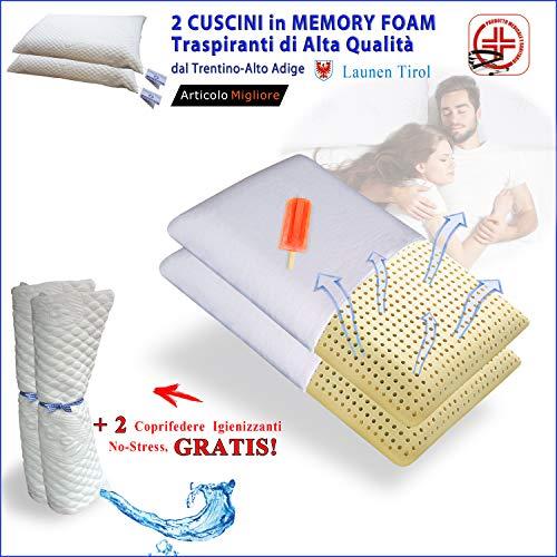 FACILCASA Coppia Cuscini Memory Foam | Guanciale Traspirante per Cervicale, Alta qualit | Offerta...