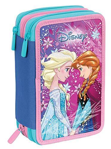 Astuccio 3 Zip Disney Frozen Ice Magic, Rosa, Con materiale scolastico: 18 pennarelli e 18 pastelli...