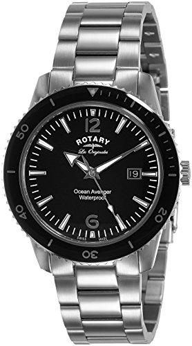 Rotary Watches Ocean Avenger Men's Black Dial Stainless Steel Bracelet Quartz Watch GB90095/04