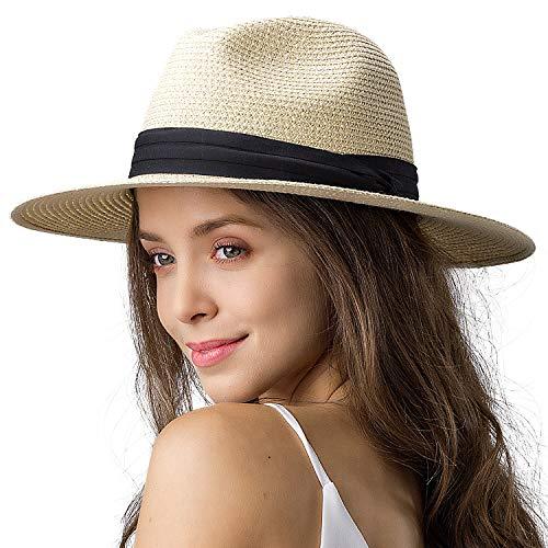 Womens Wide Brim Straw Panama Hat Fedora Summer Beach Sun Hat UPF Straw Hat for Women (Style Cream, M (Head Circum 22.1'- 22.8'))