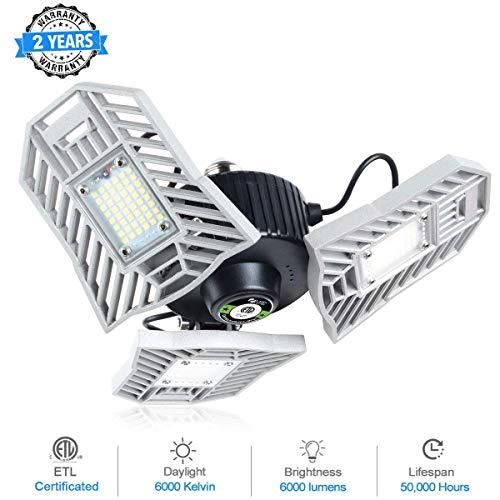 LED Garage Lights, 6000LM Garage Lighting 6000K Daylight 60W Garage Lights Fixtures E26 Deformable Utility LED Adjustable Garage Ceiling Lights for Garage, Basement, Workshop, Barn