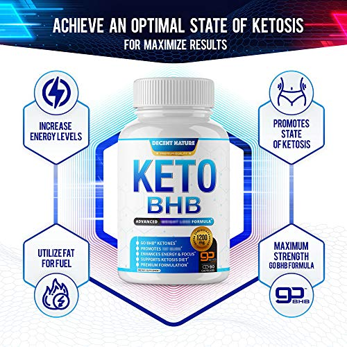 Keto Diet Pills 1200mg - Keto BHB Exogenous Ketones to Support Ketosis, Energy & Focus, Manage Cravings and Metabolism, Keto Pills for Men Women, 90 Capsules, Decent Nature Supplement 5