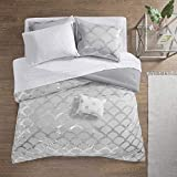 Intelligent Design Lorna Complete Bag Trendy Metallic Mermaid Scale Scallop Print Comforter with Polka Dots Sheet Set, Teen Bedding for Girls Bedroom, Queen, Gray