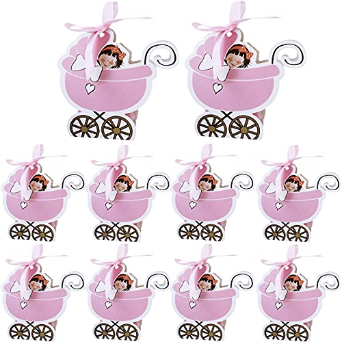 Baby Carriage Candy Box - Miotlsy Baby Carriage Shape Candy Box Para Fiestas, Bodas, Bautizos, Regalos 30pcs (Rosa)