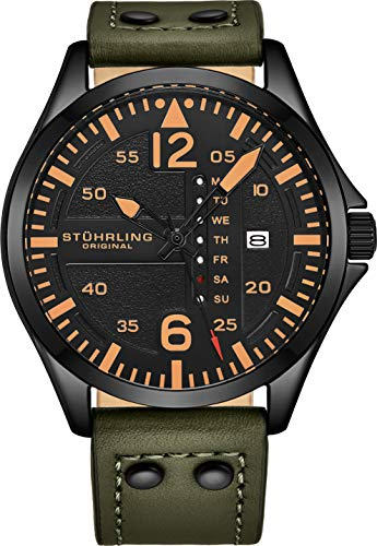 Stuhrling Original Herren Analog Sport Aviator Uhr, Quick-Set Day-Date, Lässiges Lederband (Green)