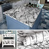 Livelynine 15.8x197 Inch Removable Marble Wallpaper Peel and Stick Countertops Granite Wall Paper Self Adhesive Vinyl Marble Paper for Bathroom Decor
