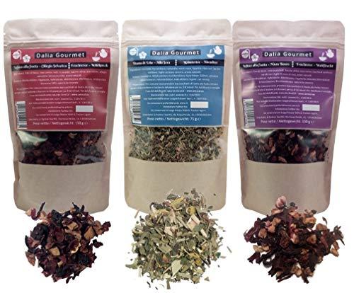 Infusi alla frutta e tisana di erbe - 3 confezioni: Ciliegia Selvatica 150g - Misto Bosco 150g - Alla Sera 75 g