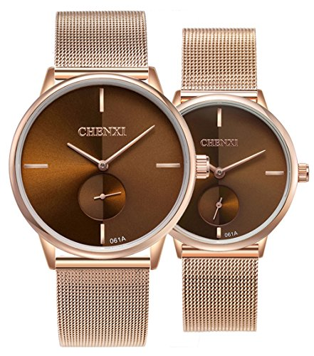 Swiss Brand Couple Watch Men Women Stainless Steel Rose Gold Mesh Strap Waterproof Watches Gift of 2 (Brown)