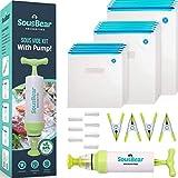 Sous Vide Bags 57 PCS - 35 Reusable Vacuum Food Sealer Bags for Anova, Joule Cookers - 3 Sizes Sous Vide Bag Kit with Pump - 4 Sous Vide Bag Clips, 7 Sealing Clips for Food Storage and Sous Vide Cooking