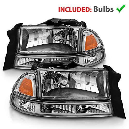 AmeriLite Chrome Replacement Headlights Corner/Parking Sets for Dodge Dakota/Durango Driver and Passenger Side